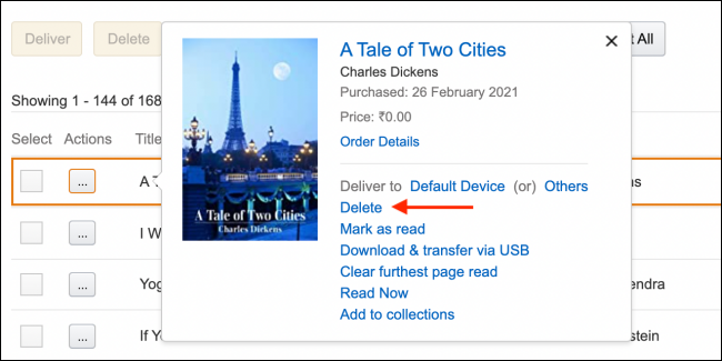 Click Delete From Book in Amazon