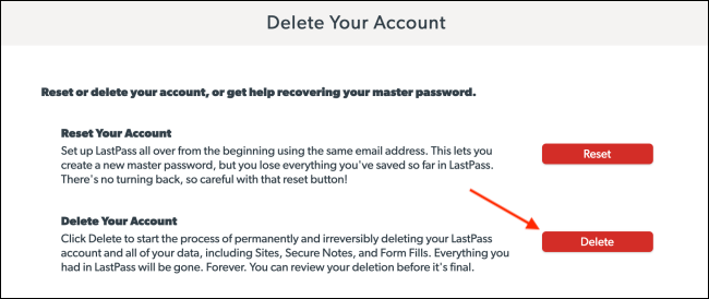 Click Delete From LastPass Delete Your Account Page