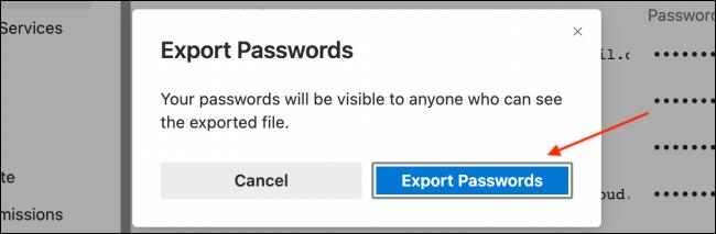 Click Export Passwords from Popup in Microsoft Edge