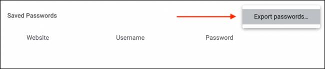 Click Export Passwords