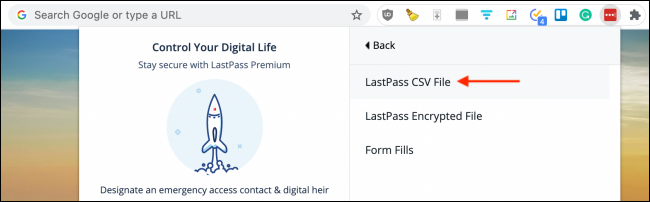 Click LastPass CSV File from LastPass Extension