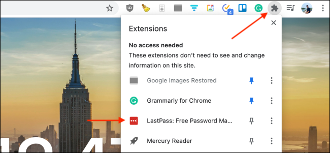 Click LastPass Extension in Chrome