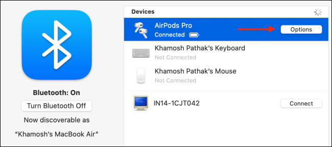 Click Options from AirPods