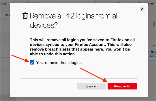 Clique em Remover tudo no Firefox