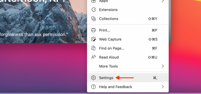 Click Settings from Menu in Microsoft Edge