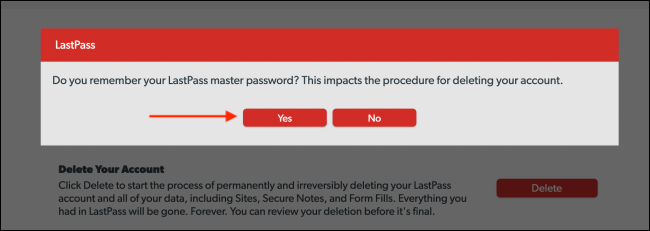 Click Yes From Remember Master Password Popup