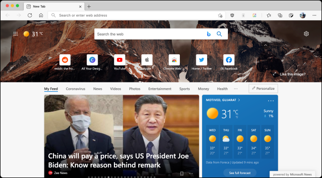Default Start Page in Microsoft Edge