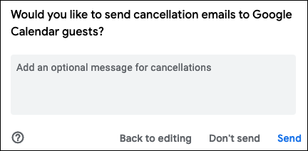 Escolha enviar e-mail de cancelamento