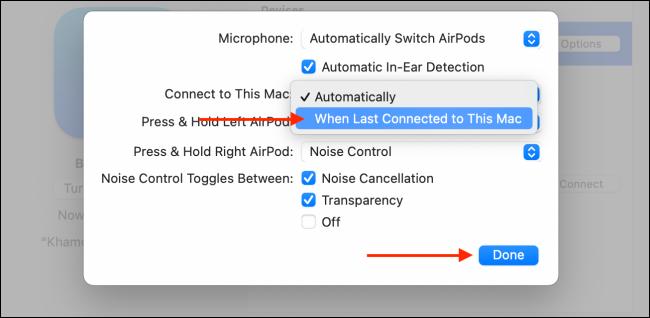 Disattiva la funzione di connessione automatica per AirPods su Mac
