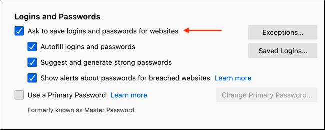Tắt Lưu cửa sổ đăng nhập trong Firefox
