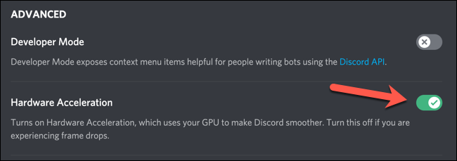 """Click the """"Hardware Acceleration"""" slider to enable Discord's hardware acceleration mode, ensuring the slider is green."""