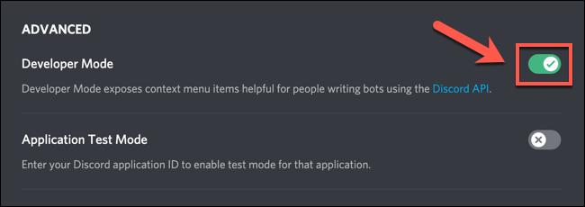 "To enable or disable Discord developer mode, tap the ""Developer Mode"" slider."