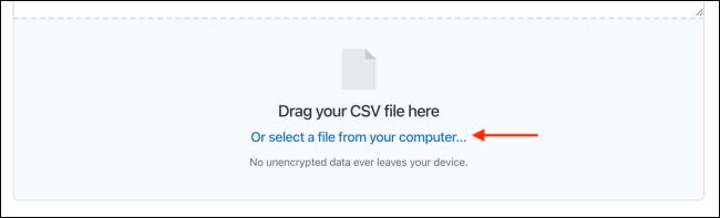 Drag Files or Select CSV