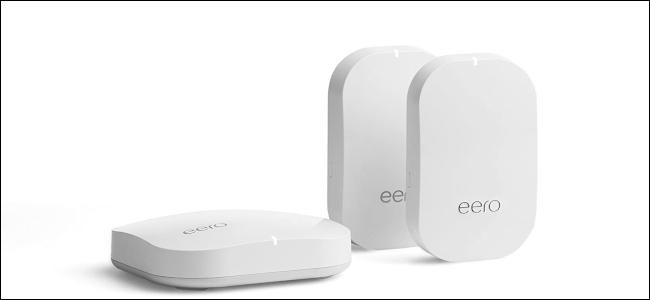 Three Amazon Eero mesh Wi-Fi devices