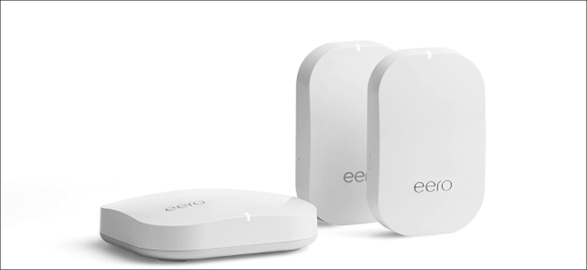 Three Amazon Eero mesh Wi-Fi devices