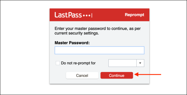Enter LastPass Password and Click Continue