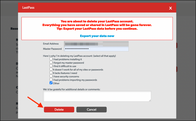 Enter Master Password and Click Delete