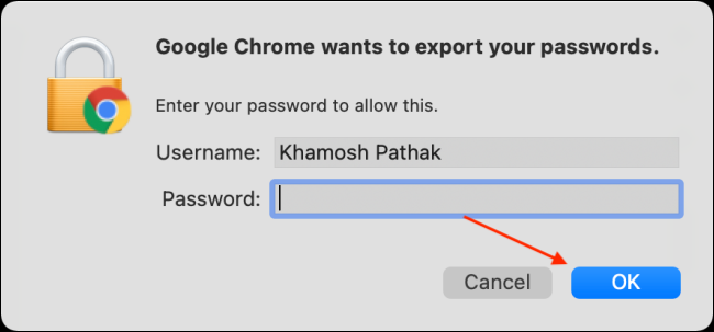 Enter Password From Account and Click OK