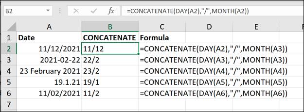 Примеры функции СЦЕПИТЬ в Excel, используемой для удаления года из значений даты.