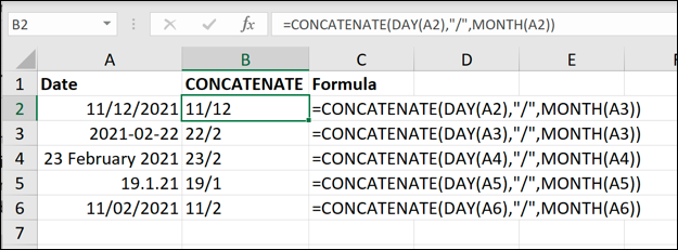 Examples of the Excel CONCATENATE function used to remove the year from date values.