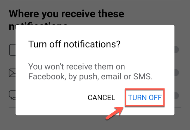 "To disable friend suggestions, tap ""Turn Off"" to confirm."