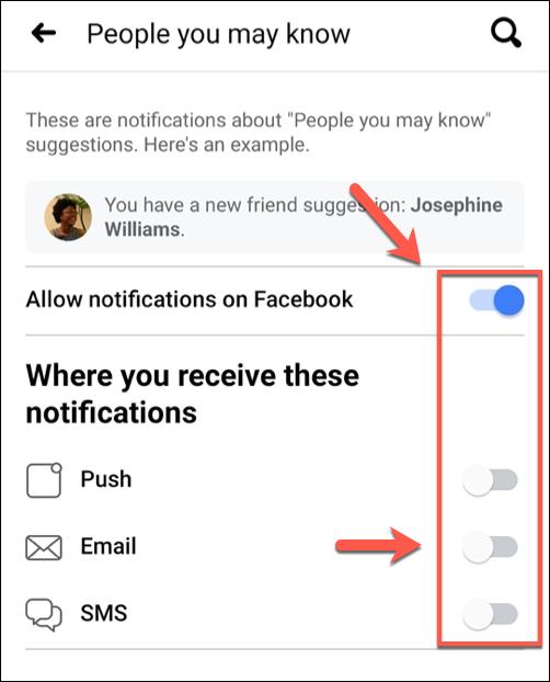 """No menu """"Pessoas que você talvez conheça"""", toque nos vários controles deslizantes para desativar notificações individuais ou toque em """"Permitir notificações no Facebook"""" para desativar todas as sugestões de amigos."""