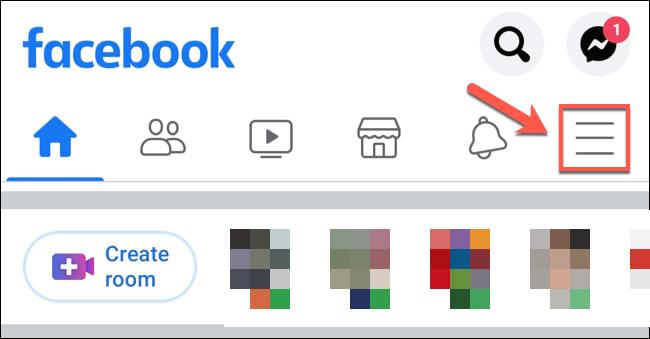 No aplicativo do Facebook, toque no ícone do menu de hambúrguer.