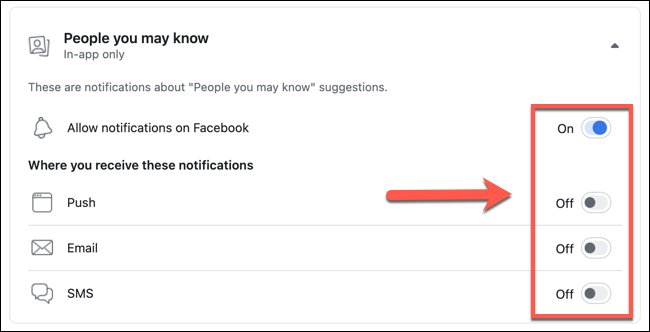 "Tap the sliders next to the various options listed in the ""People You May Know"" settings menu to disable specific friend suggestions, or press ""Allow Notifications On Facebook"" to disable them entirely."