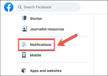 "In the Facebook settings menu, press the ""Notifications"" option."