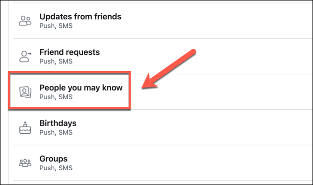"""No menu """"Notificações"""" do Facebook, clique na opção """"Pessoas que talvez você conheça""""."""