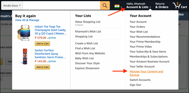Go to Manage Device in Amazon