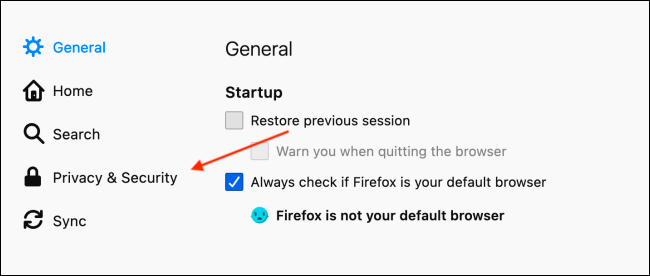 Đi tới Quyền riêng tư và Bảo mật trong Tùy chọn Firefox
