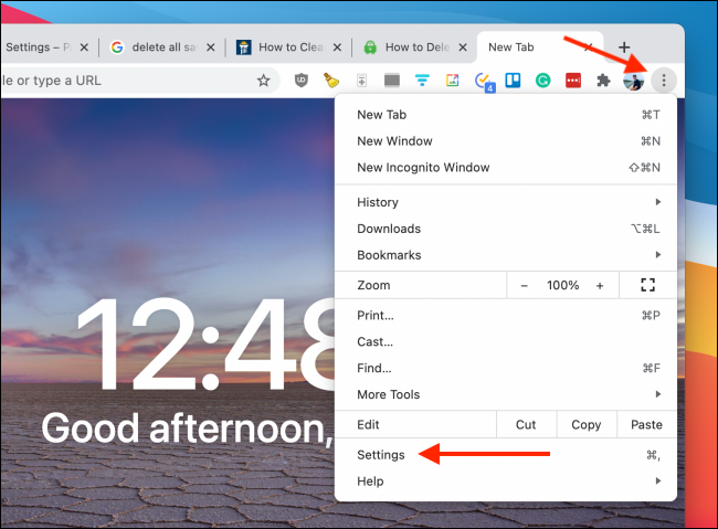 Go to Settings from Chrome