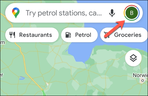 Tap the profile icon in the top right corner to open the Google Maps settings menu.