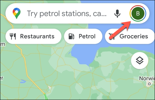 To open the Google Maps settings menu, tap the profile icon in the top right.
