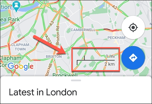 An example of the Google Maps scale bar on Android, which always shows the scale on.