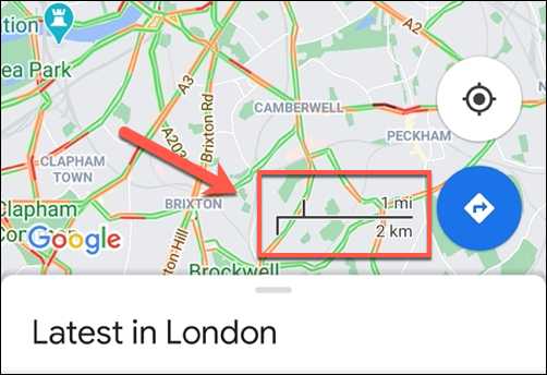 An example of the Google Maps scale bar on Android, showing the always-on scale.