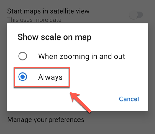 "Tap ""Always"" in the ""Show Scale On Map"" settings menu."