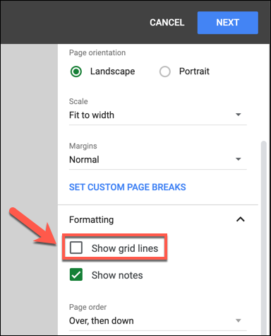 """In the """"Print Settings"""" menu, press Formatting > Show Gridlines to remove visible gridlines from your document before printing."""