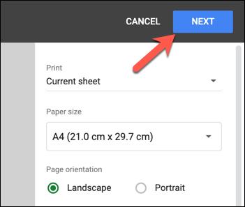 "To begin printing, press the ""Next"" option."