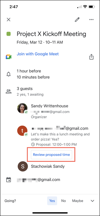 Tap Review Proposed Time