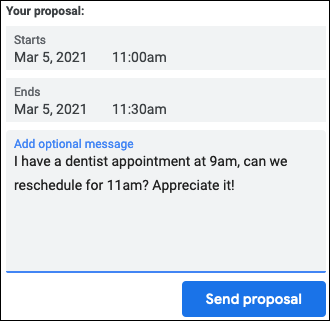 Click Send Proposal with the New Time