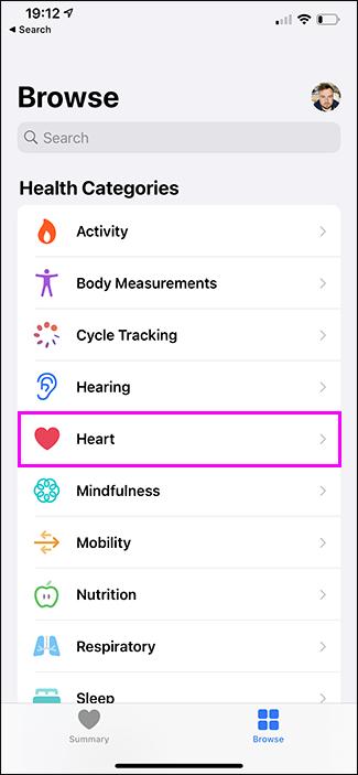 cuore dell'app per la salute evidenziato