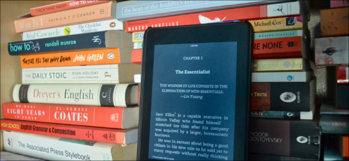 Kindle User Reading Book in Dark Mode