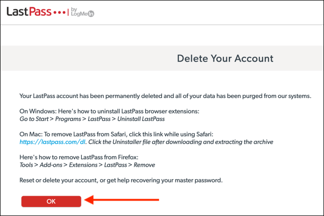 LastPass Account Deleted