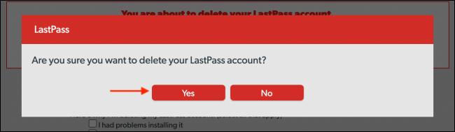 LastPass Delete Popup 1