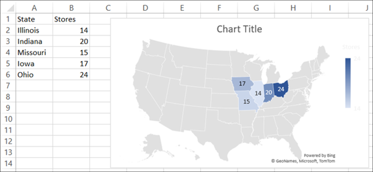 Map Chart in Microsoft Excel