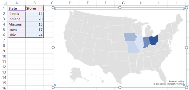 Map Chart with Data in Excel