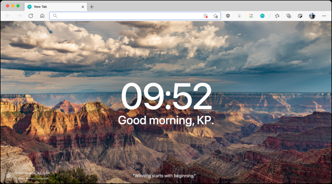 New Momentum Start Page on New Tab in Microsoft Edge