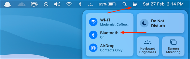 Open Bluetooth from Control Center